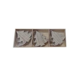 Boîte de 9 sujets en bois à suspendre – 22 cm 349183