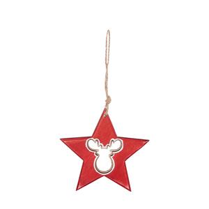 Étoile rouge en bois à suspendre avec renne – 11 cm