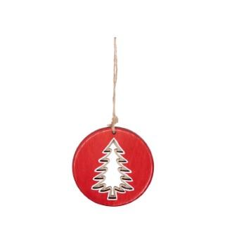 Disque rouge en bois à suspendre avec sapin – 9,2 cm