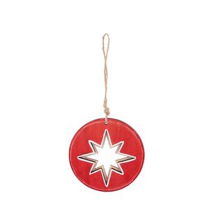 Disque rouge en bois à suspendre avec étoile– 9,2 cm 349235