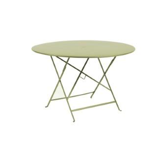Table ronde pliante Bistro Fermob en acier coloris tilleul Ø 117 cm 351129