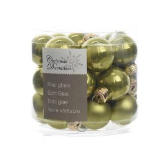 Boite de 24 mini-boules en verre email-mat vert olive 357520