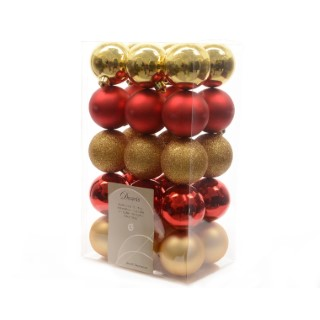 Boite de 30 Boules en plastique couleur rouge et doré - Ø 6 cm