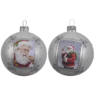 Boule de verre père Noël blanc (disponible en 2 assortiments) 357542