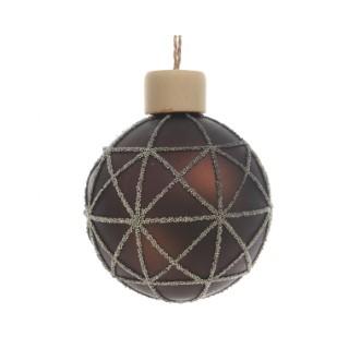 Boule de verre avec déco perle graphique dark chocolate 357556
