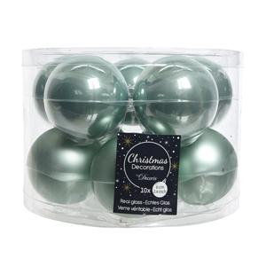 Boite de 10 boules unies brillant-mat eucalyptus 357605