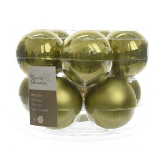 Boite de 10 boules unies brillant-mat vert olive 357608