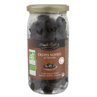 Olives noires au naturel bio gros calibre en bocal de 250 g 360041
