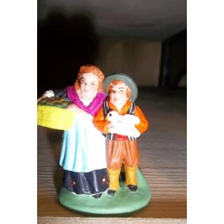 Santon couple d'enfants en argile H 7 cm 367153