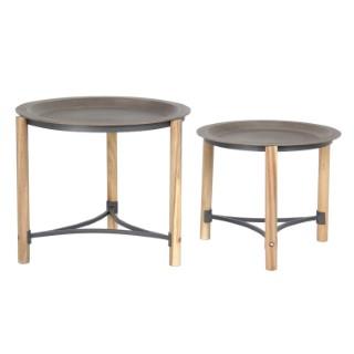 Selette ronde bois plateau gris - Grand modèle