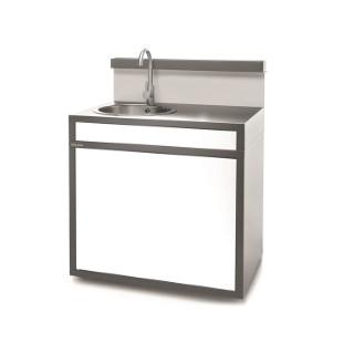Support pour évier fermé en acier gris blanc 379870