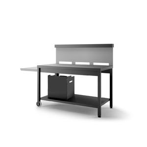 Table roulante avec crédence en acier noir gris 379937