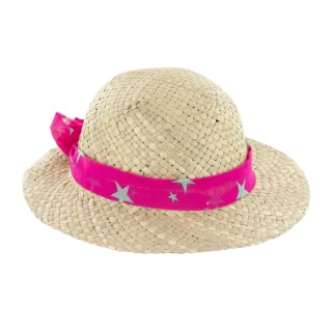 Chapeau de paille enfant Stella avec ruban rose taille 54 Ø 25 cm 388718