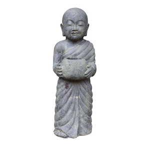 Statue de jardin Moine debout avec pot H 60 cm 396234