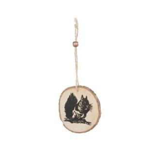 Disque en bois à suspendre à motif écureuil – Ø 8 cm