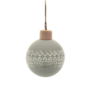 Boule en verre vert clair dessinée au laser avec chapeau en bois – Ø 8 cm