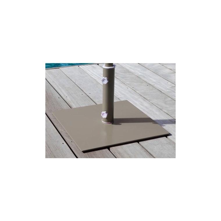 Pied carré en acier pour parasol couleur taupe