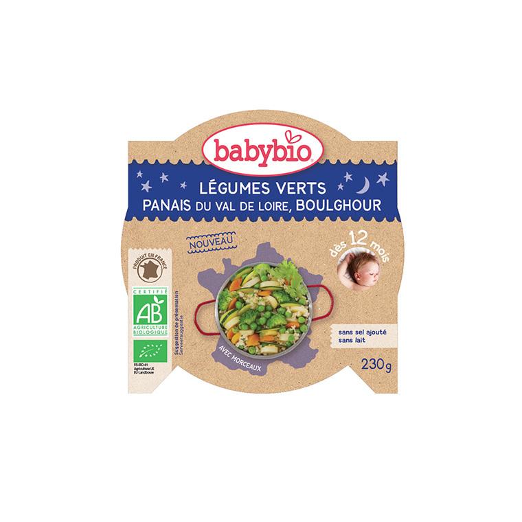 Portion de légumes verts panais et boulgour bonne nuit Babybio 230 g 300894