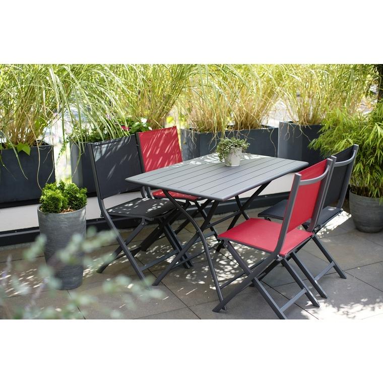 Chaise pliante Max en aluminium rouge 90 x 45 x 52 cm 302804