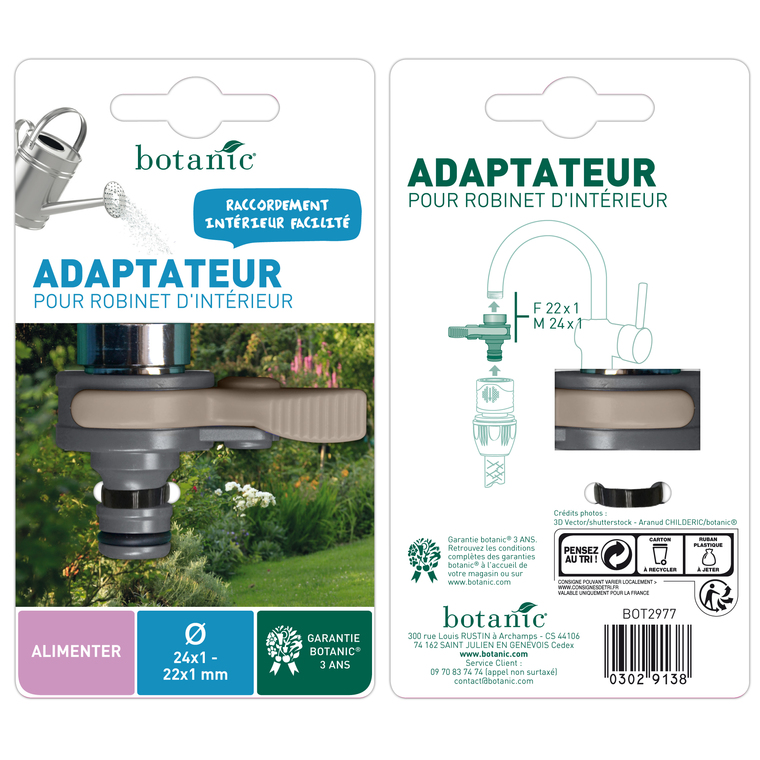 Adaptateur rapide pour robinet intérieur femelle Ø 22 mm mâle Ø 24 mm 302913