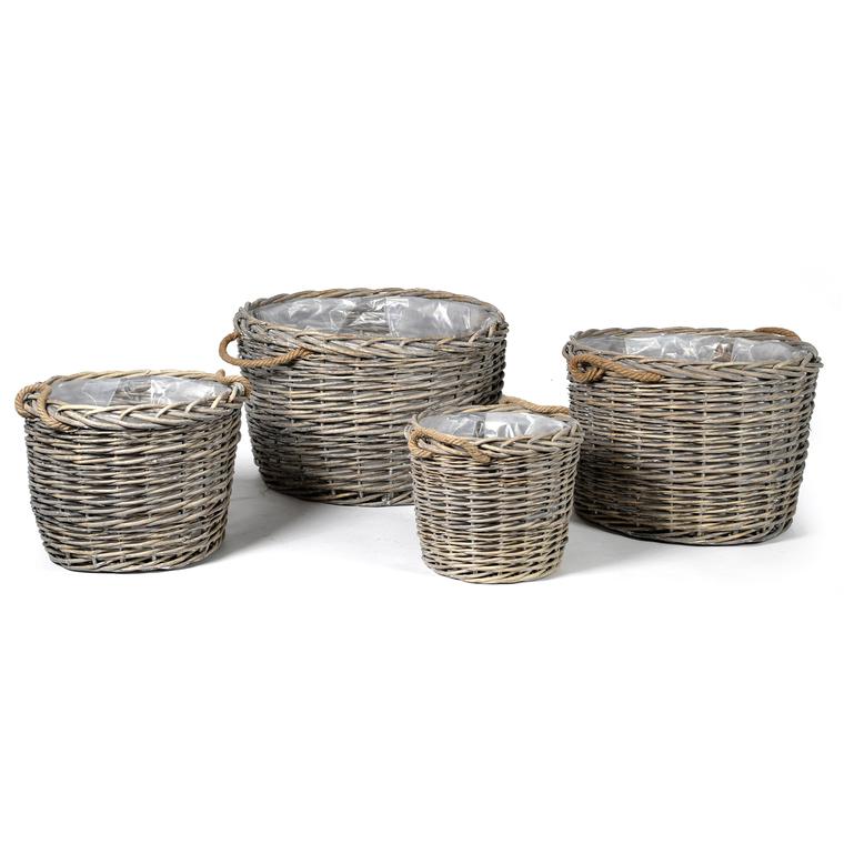 Petit pot rond Charles osier grisé 21,6 L 313988