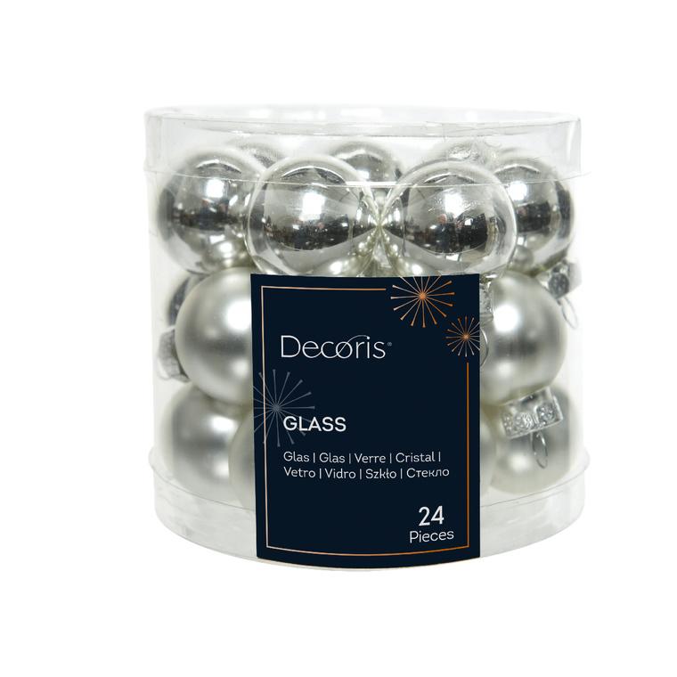 Boite de 24 mini-boules en Verre argent brillant et mat – Ø 2,5 cm 316618