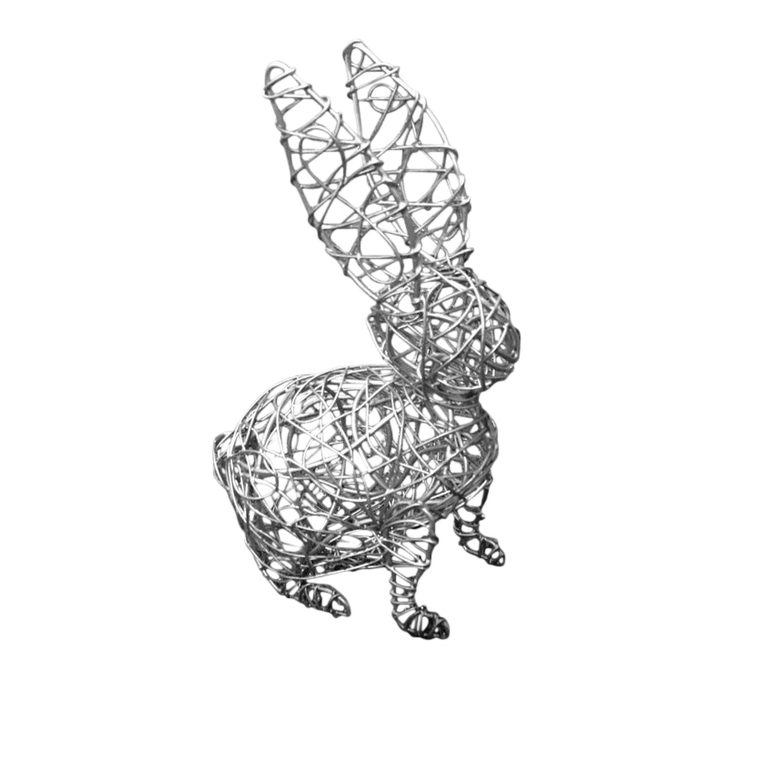 Statue de jardin lapin métal tressé 9 x 7 x 14 cm 321859