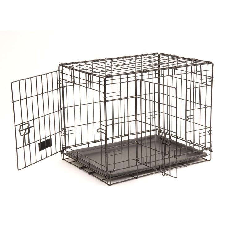 Cage de transport noire pour chien avec 2 portes 61 x 45 x 48 cm 330373
