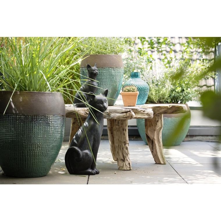 Statue de jardin chat décoratif en béton ciré H 42 cm 332612