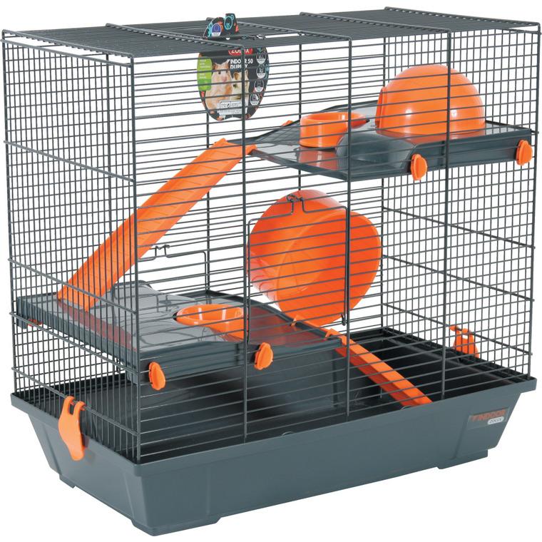 Cage pour rongeurs en duplex indoor orange L. 51 x l. 29 x H. 47.5 cm 334556