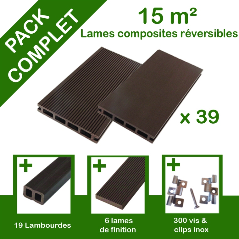 Pack complet terrasse composite chocolat 15 m2 334783