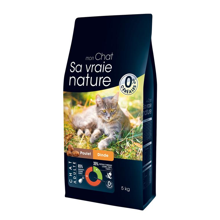 Croquettes Sa vraie nature chat - poulet et dinde - 5 kg 335713