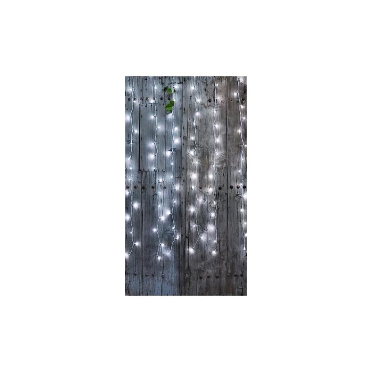 Rideau lumineux extérieur animé blanc pur à LED solaire 2x2 m 344876