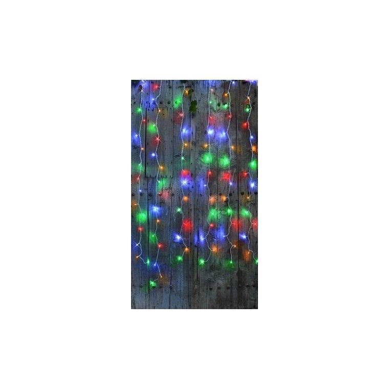 Rideau lumineux extérieur animé multicolore à LED solaire 2x2 m 344877