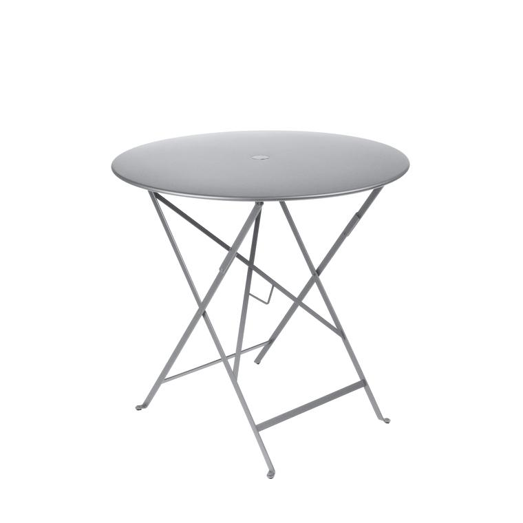 Table ronde pliante Bistro Fermob en acier coloris blanc coton Ø 77 cm 351133