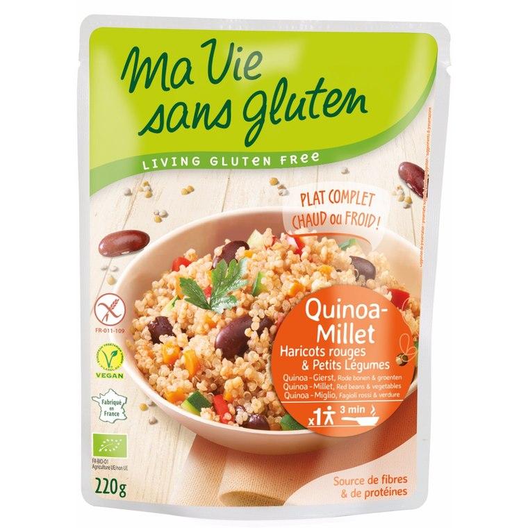 Repas de quinoa, millet et légumes bio en doypack de 220 g 351430
