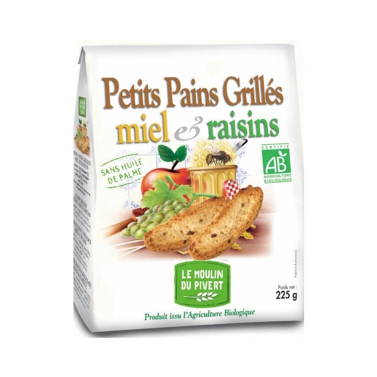 Petits pains grillés au miel et raisin bio 225 g 354741