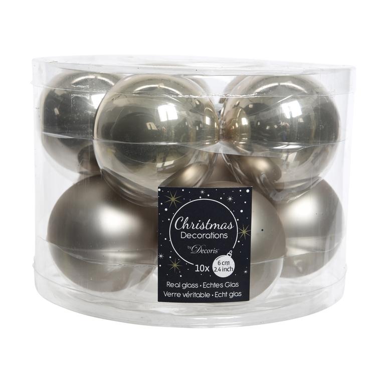 Boite de 10 boules unies brillant-mat natural linen 357612