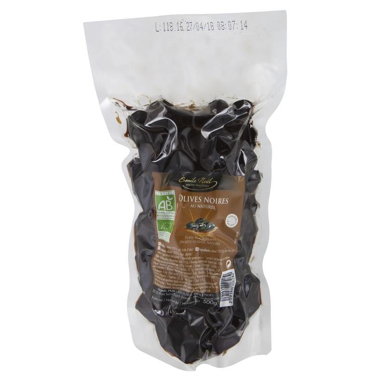 Olives noires au naturel bio gros calibre en sachet de 500 g 360029