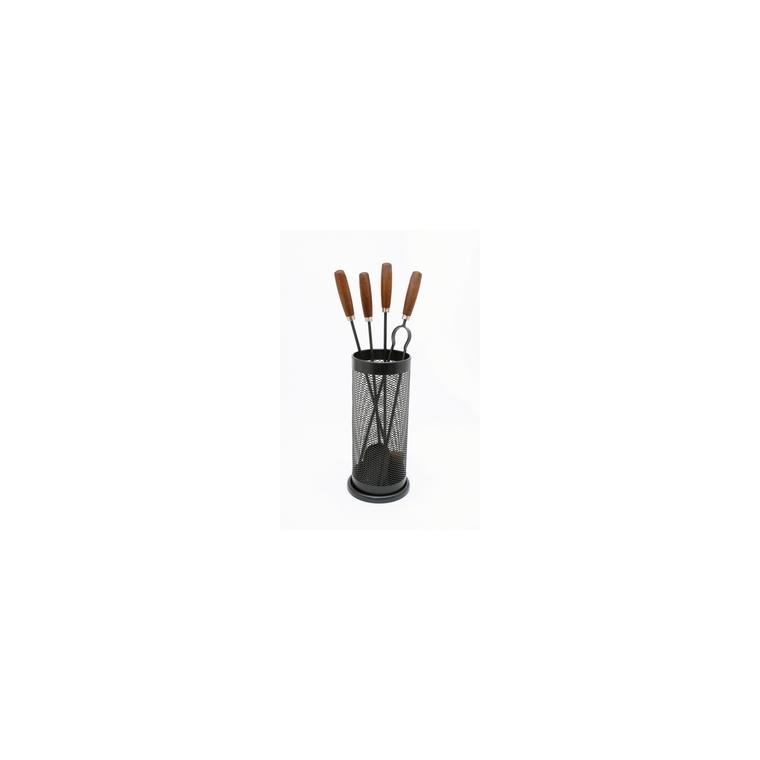Serviteur de cheminée sur socle noir en acier Ø 22 x 65 cm 364134