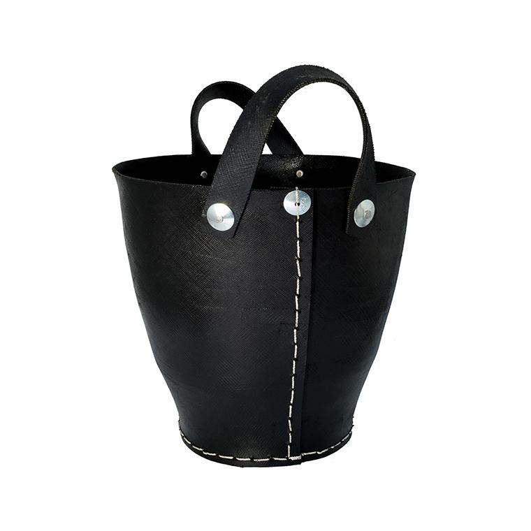 Petit cabas du pays en pneu recyclé noir H 30 x Ø 30 cm 374921