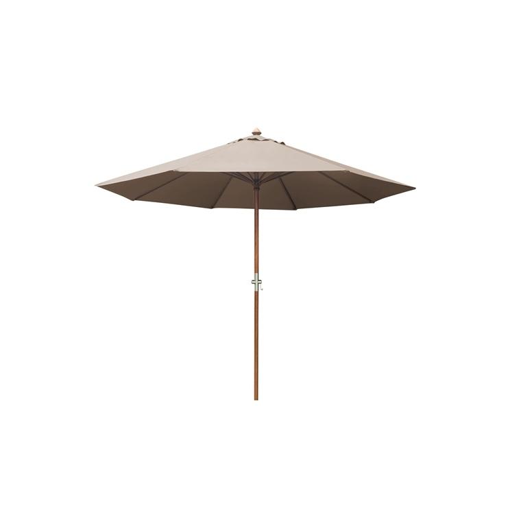 Parasol rond bois taupe 379212