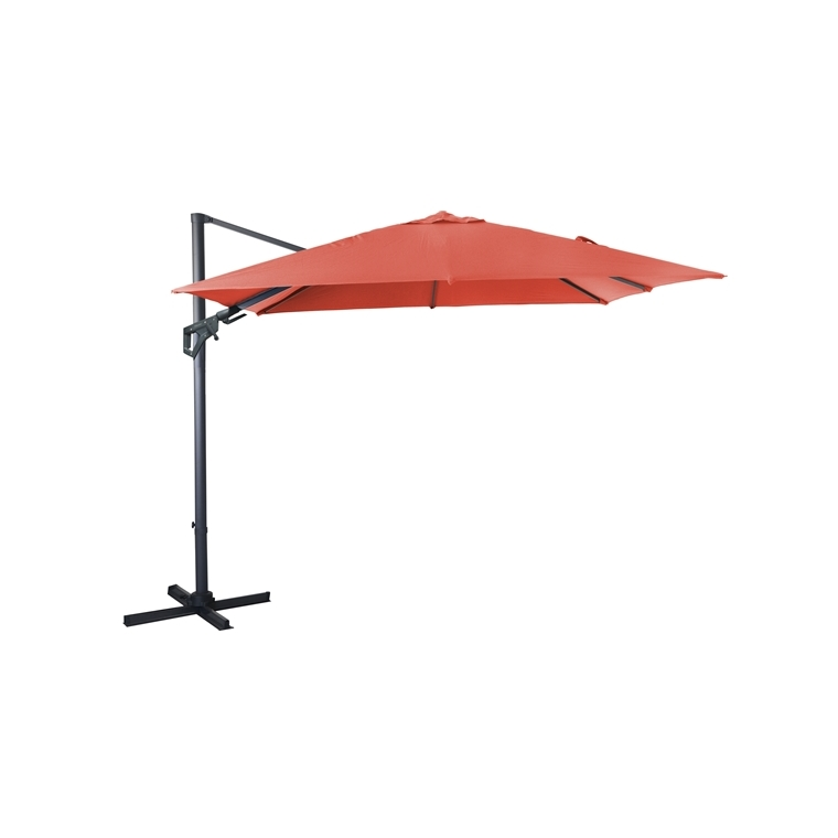 Parasol déporté orientable orange 300 x 300 cm 379227