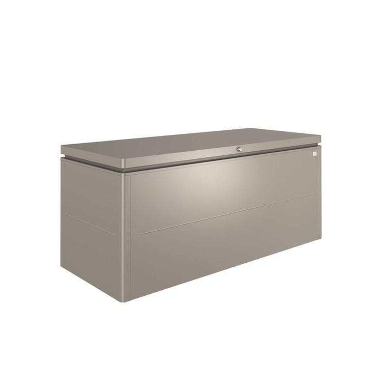 Coffre loungebox gris quartz métallique 200x84x88,5 cm 382372