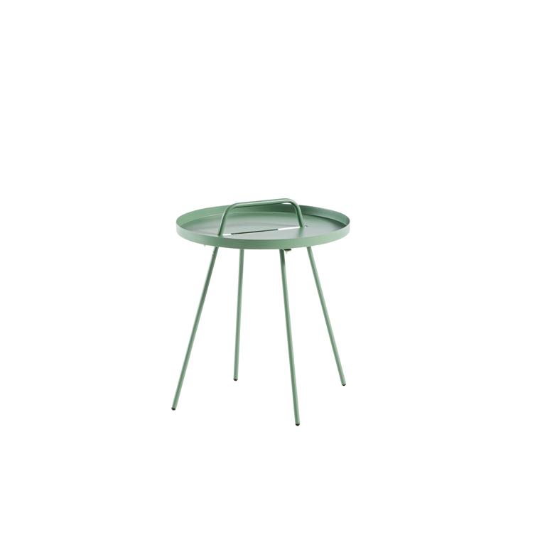 Table basse nomade en acier coloris amande Ø 51 H 44 cm 398389