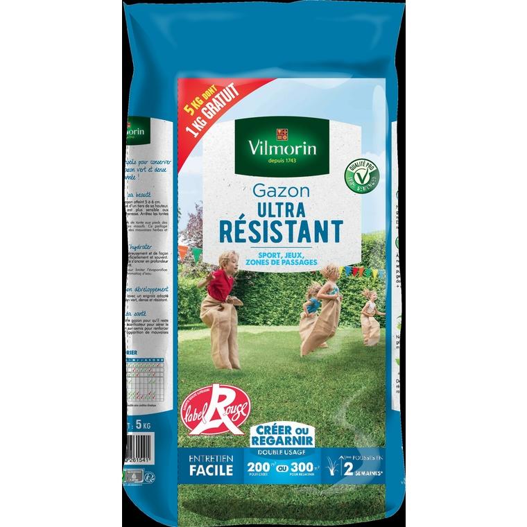 Gazon ultra résistant label rouge Vilmorin 5 kg dont 1 kg gratuit