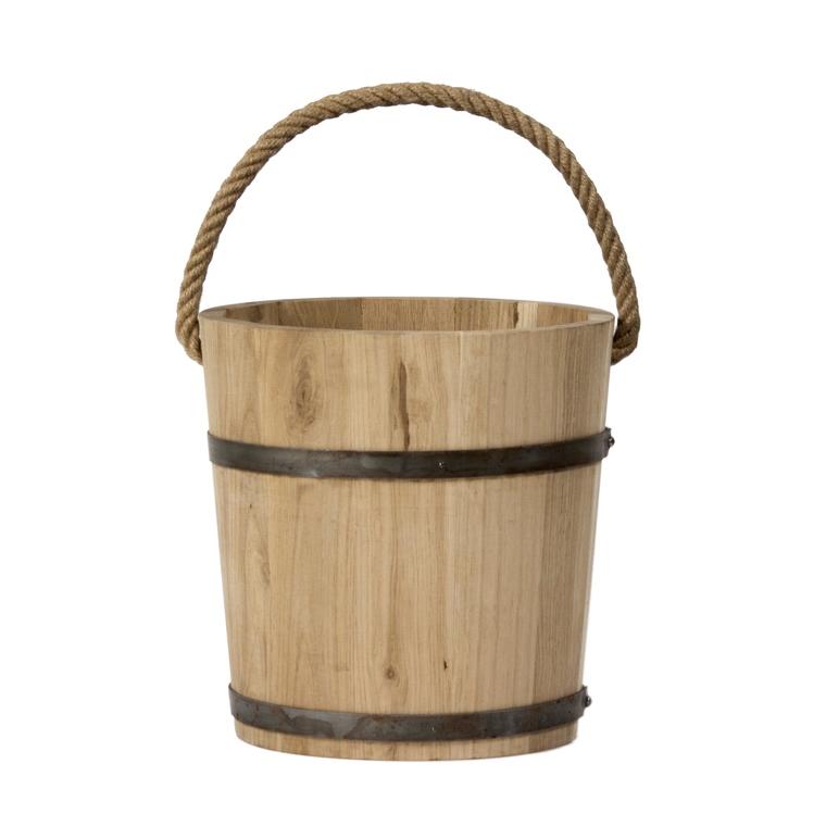 Seau chêne avec poignée en corde diam. 30 cm