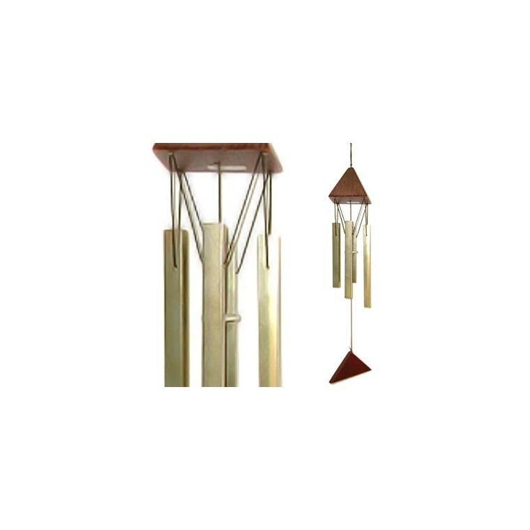 Carillon Son de crystal en bois et tubes acier, H 44 cm