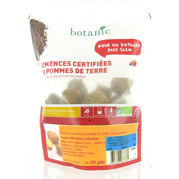 Pommes de terre Monalisa Bio calibre 0001, 25 plants