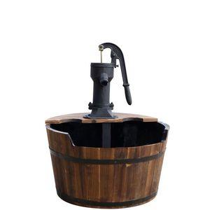 Fontaine tonneau newcastle en bois avec pompe à bras Ø 60 cm x H75 cm